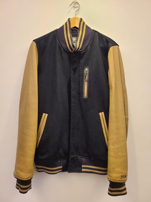 【二手美品】Nike NSW Destroyer Varsity Jacket  牛皮袖羊毛棒球外套