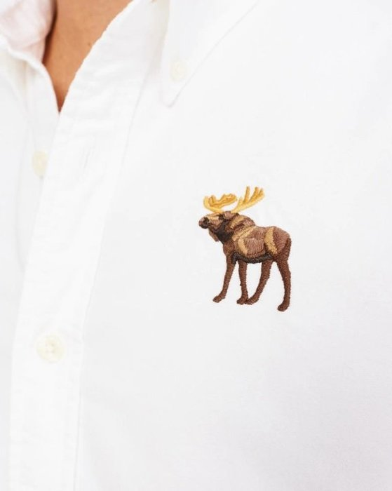 AF Abercrombie&Fitch 彩色大麋鹿 牛津襯衫 長袖  襯衫 白色