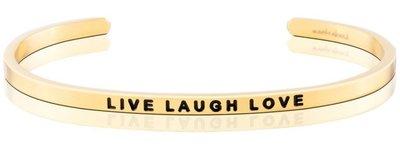 MANTRABAND 美國悄悄話手環 Live Laugh Love 生活歡笑愛 金色手環