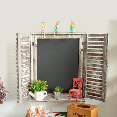 雜貨精品 田園鄉村風木窗造型壁掛式黑板 復古仿舊刷色裝飾窗台窗戶留言黑板 木製百葉窗假窗佈置本日菜單黑板 攝影道具擺飾物
