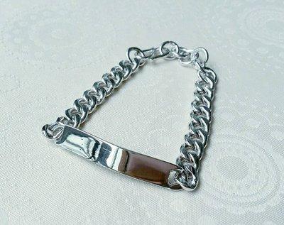 嗨,寶貝銀飾珠寶* 925純銀☆個性 帥氣 牌寬8mm 平板純銀手鍊 適合男女配戴