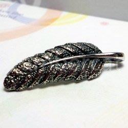 琥珀貓銀飾DIY【925純銀飾品】墜飾~A0799~羽毛~一個