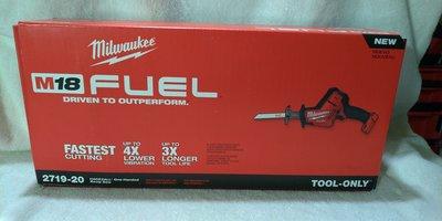 美國Milwaukee 米沃奇 2719-20 18V無刷軍刀鋸 最新版往復鋸 M18 2719
