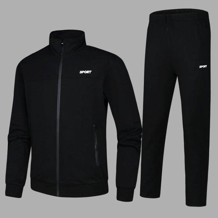 春秋季男士運動套裝純棉青年運動服套裝健身2018新款休閒衛衣套裝