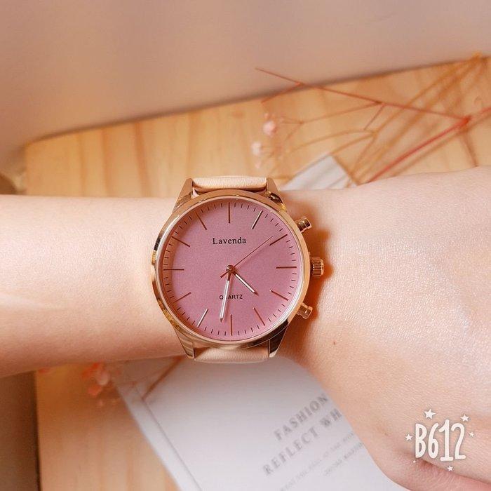 韓國❤️Lavenda 極簡 大錶面 刻度 金屬框 皮質 造型錶 手錶【Verina's韓系美飾】