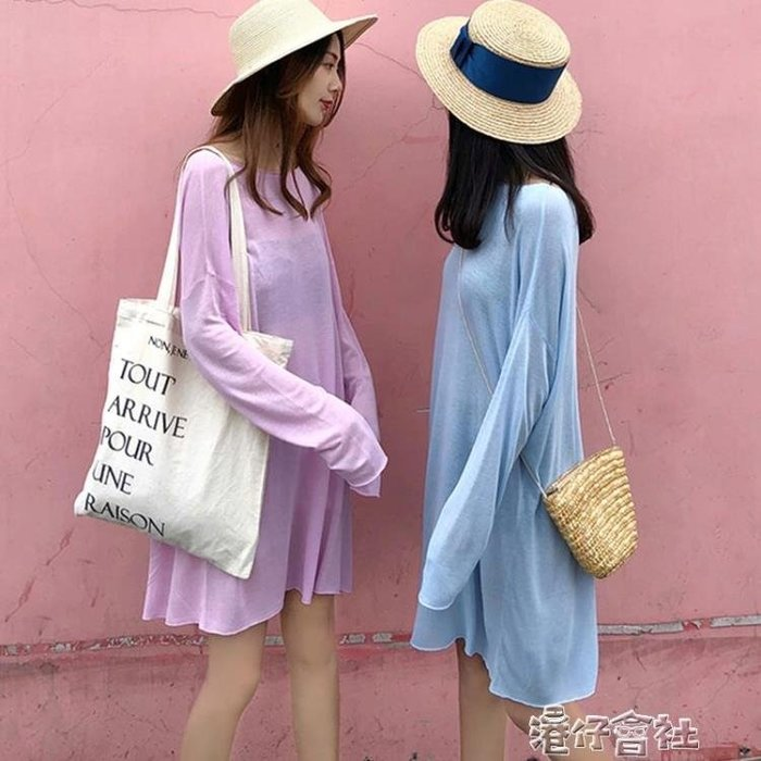 純色中長款輕薄休閒防曬連身裙休閒長袖T恤裙女