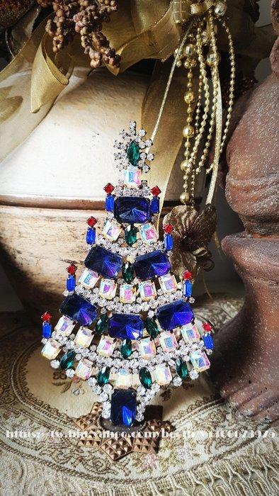 黑爾典藏西洋古董 ~BEAUTIFUL 捷克水晶 寶藍AB方鑽大型聖誕樹擺飾 ~Vintage ~具鋼印