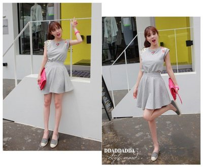 零碼出清現金價_品名: 新款韓版連衣裙(單色灰色) J-10987