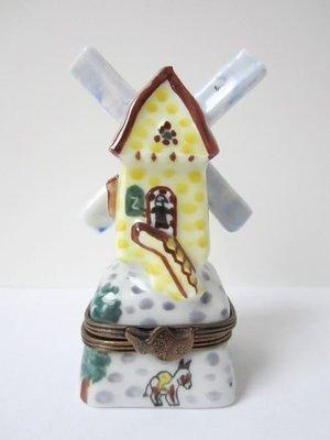 法國【LIMOGES】里摩瓷器 風車造型 手繪擺飾 小珠寶盒 TRINKET BOX 保證全新正品/真品 現貨