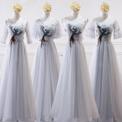 伴娘禮服 長裙姐妹團伴娘服姐妹裙 晚禮服 宴會高貴連身裙 洋裝—莎芭