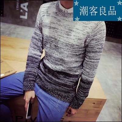 潮客良品~~~免費招秋季裝針織衫男士圓領套頭毛衣韓版修身拼接毛線衫大碼cklp2999