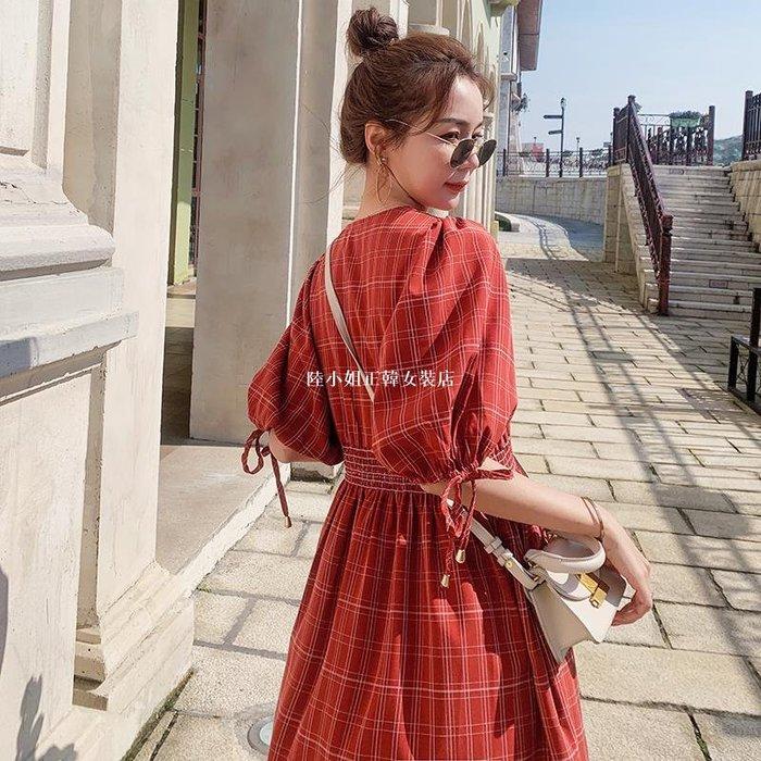 陸小姐正韓女裝店紅色格子連身裙女2020新款夏季法式復古收腰顯瘦長裙子洋裝氣質赫本風