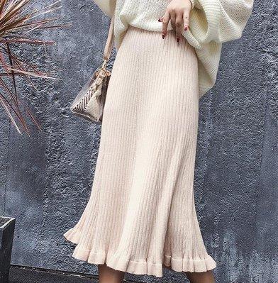 毛線針織半身裙女秋冬中長款高腰荷葉邊a字魚尾裙子5色
