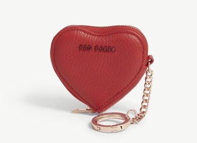(預購7天寄出)(2019新款)(紅)英國TED BAKER 愛心皮革掛飾/零錢包 Kahi leather heart coin purse