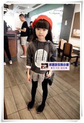 •*~ 辣媽咪衣飾小舖 ~*•❤童裝系列❤N520439韓版個性裙擺純棉加絨連帽休閒拼接洋裝