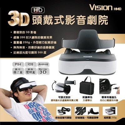 限時特價【雲城娛樂】現貨 Vision HMD 3D頭戴式影音劇院 虛擬4米200吋大螢幕 HD高畫質 HDMI 非VR