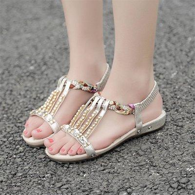 女士涼鞋波西米亞平底鞋韓版水鉆羅馬百搭女鞋子夏