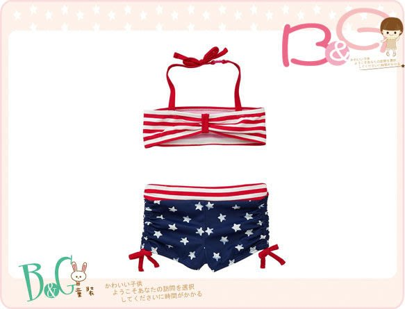 【B& G童裝】正品美國進口GAP 星星圖樣美國國旗比基尼泳裝 18-24m,2yrs(UPF50+)