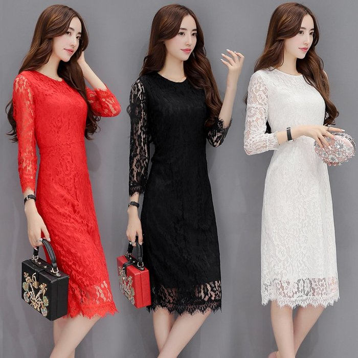 [C.M.平價精品館]S~3XL修身顯瘦美麗蕾絲面料優雅長版黑/紅/白色洋裝