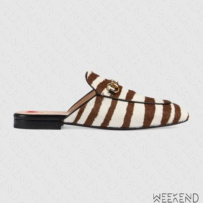 【WEEKEND】 GUCCI Princetown Slippers 斑馬斑紋 毛毛 拖鞋 穆勒鞋 476250