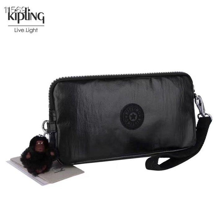 Kipling 猴子包 金屬黑 K70109 拉鍊手掛包 零錢包 長夾 手拿包 鈔票/零錢/卡包 輕便多夾層 防水 限量