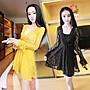 性感V領系帶松緊腰黃色蕾絲女裝長袖洋裝 安...