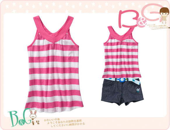 【B& G童裝】正品美國進口OLD NAVY Girls Pieced V-Neck 粉紅色條紋V領背心上衣XS號5-6yrs