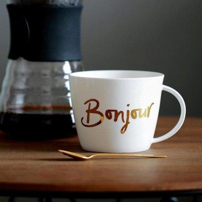 藍蓮花bonjour法語金色馬克杯子水杯麥片杯創意陶瓷骨瓷大容量