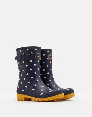 特價代購英國 JOULES Molly WELLIES 海軍深藍 白點點 黃底 雨鞋 中筒 Hunter