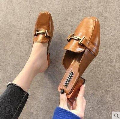 麥麥部落 頭半拖鞋女潮新款方頭粗跟女士穆勒鞋中跟試衣鞋高跟外穿MB9D8