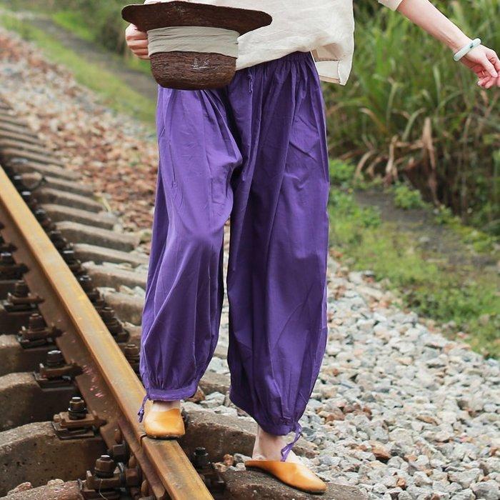 【鈷藍家】棉麻臆想 原創春夏新款純棉燈籠褲鬆緊腰寬鬆百搭闊腿褲打坐褲瑜伽褲