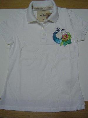 美國Hollister 女裝 Diver's Cove白色S號清爽大方歐風很合身polo衫含運在台現貨