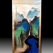 【 金王記拍寶網 】S1994  張大千款 潑彩 山水圖 手繪書畫捲軸一幅 罕見 稀少~