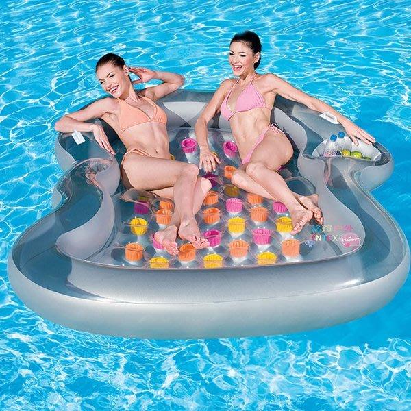 5Cgo【批發】含稅會員有優惠 45043960413 水上浮床充氣床雙人床水上充氣遊泳池浮床沙灘床充氣遊艇水上遊艇