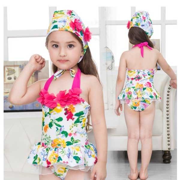 5Cgo【鴿樓】會員有優惠 21034560676 韓國兒童泳衣女童女孩可愛泳裝嬰兒寶寶連體比基尼分體公主套裝