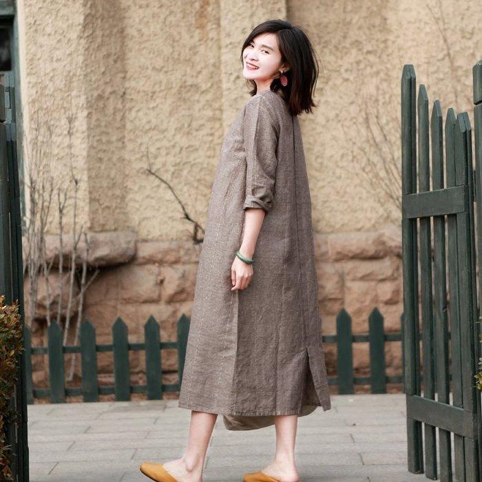 【鈷藍家】棉麻臆想 卡卡秋冬文藝暗紋亞麻格子連身裙中長款長袖雙層袍子