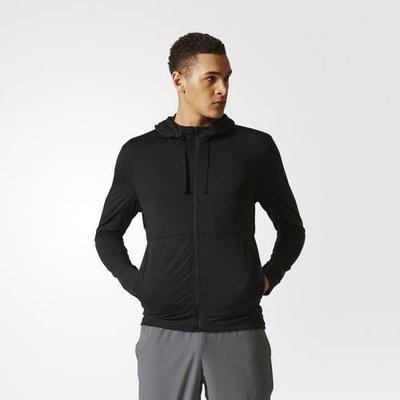 adidas CD8839 黑色 印花 LOGO 合身 連帽 健身 訓練 運動 排汗 透氣 外套 夾克