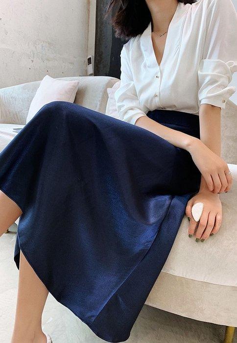 【C Select Shop】迷人午夜藍 優雅緞絲半身裙 高腰中長款 A字裙 包臀裙 魚尾裙 長裙 歐美設計款