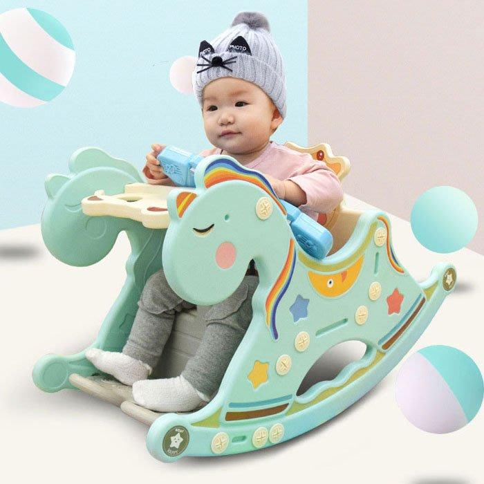 5Cgo【樂趣購】568865457782 嬰兒搖搖椅多功能寶寶玩具馬1-5歲兒童益智早教音樂男孩女孩玩具車搖搖車餐車椅