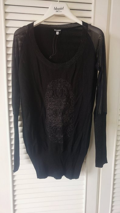 義大利GF Ferre黑色性感透膚長袖罩衫