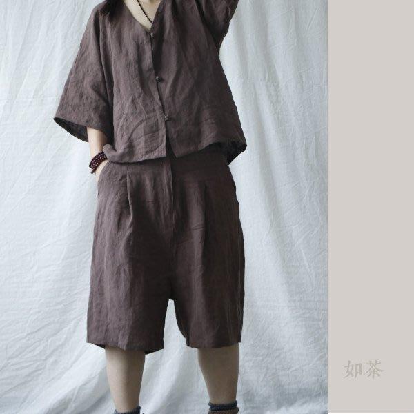【如茶】寬鬆夏透氣水洗亞麻短褲五分褲