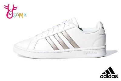 adidas GRAND COURT 板鞋 成人女款 經典三線造型 休閒鞋 休閒運動鞋 R9318#白銀 OSOME奧森鞋業