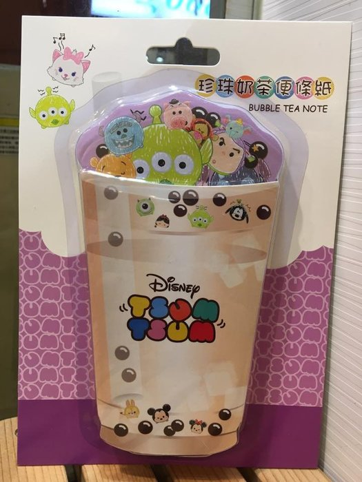 阿虎會社【D - 001】正版 迪士尼 珍珠奶茶造型 便條紙 便利貼 文具用品 畫筆風