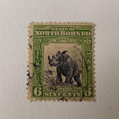 北婆羅洲 動物郵票 State of North Borneo Six Cents