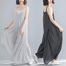 連身褲 女裝雪紡深V領吊帶寬褲寬鬆大碼不對稱條紋大腳 - 限時優惠