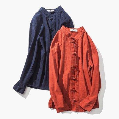 ∵ PRAY FOR FASHION ∴中國風棉麻一字扣盤扣立領修身休閒上衣襯衫