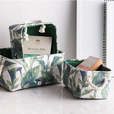 #現貨 ins北歐清新樹葉綠植花朵可折疊收納布藝收納筐 桌上收納 雜物收納