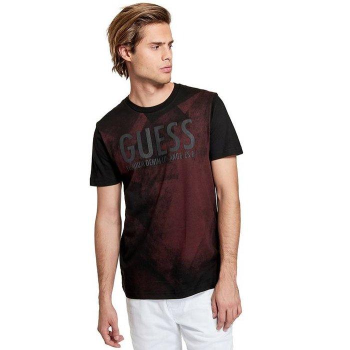 【GUESS】GUESS男款短袖T恤黑印字刷漆紅黑 F03190611-07