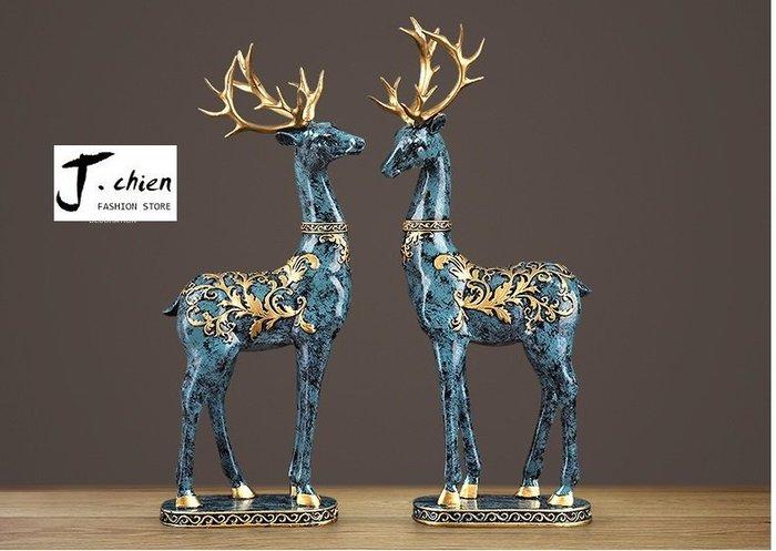 J.chien ~[全館免運]梅花鹿擺件家飾品 結婚禮物 客廳酒櫃電視櫃工藝品 歐式裝飾品 工藝品