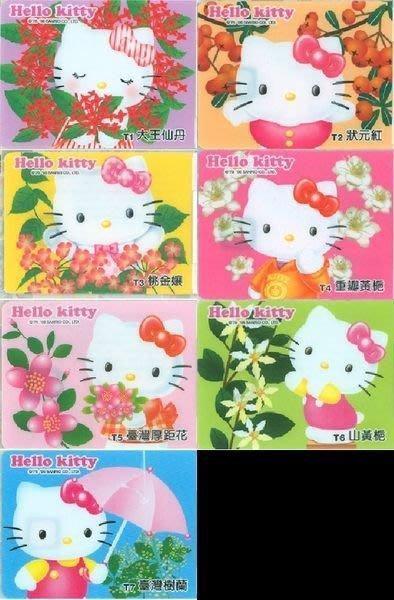 7-11 Hello Kitty 花花世界台灣版 icash卡 一套七張 含胸章一枚 全新未拆
